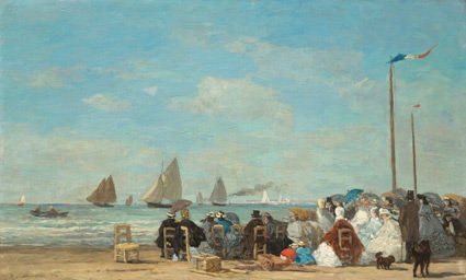 Beach Scene at Trouville by Eugene Boudin, 1863