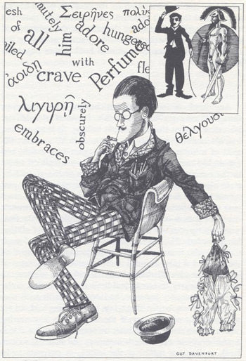 Guy Davenport's illustration of James Joyce writing a sentence