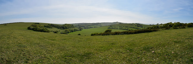 The view south to Saddlescombe Farm and Brighton beyond
