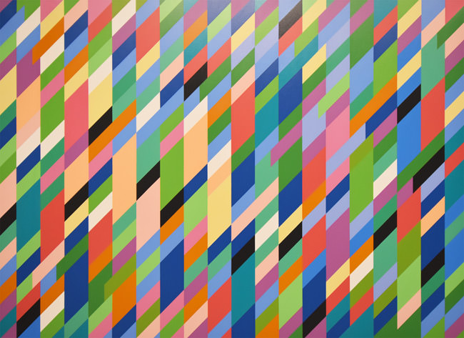 7/10 High Sky, oil on canvas, by Bridget Riley, 1991