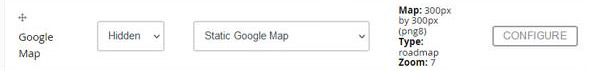 Display options for the Google Map field