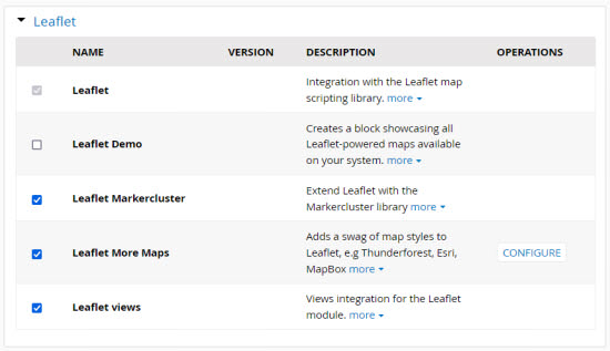 Leaflet modules and sub-modules in Backdrop CMS