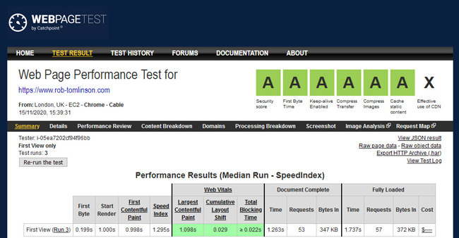 Screenshot of Web Page Test results, November 2020
