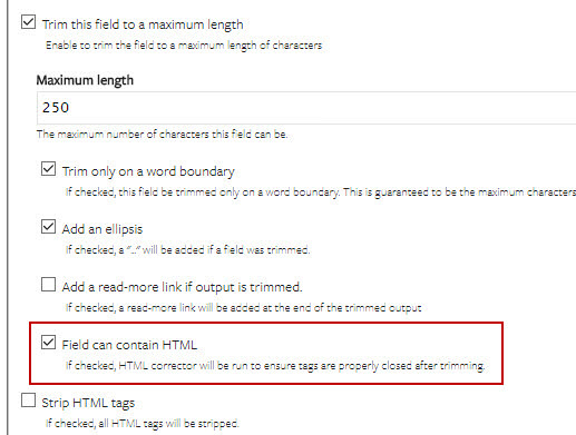 Drupal Views' Field can contain HTML option