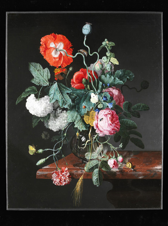 Flowers in a glass vase by Jacob van Walscapelle
