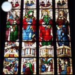 A detail of the stained-glass windows of Arnaud de Moles