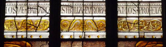A frieze from one of the stained-glass windows of Arnaud de Moles