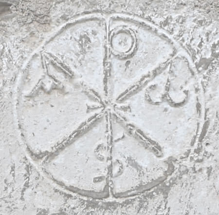 The Chi-Rho visible at the church of Saint-Michel at Lamaguère
