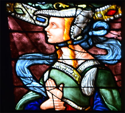 The famous Sybil from one of the stained-glass windows at Auch Cathedral