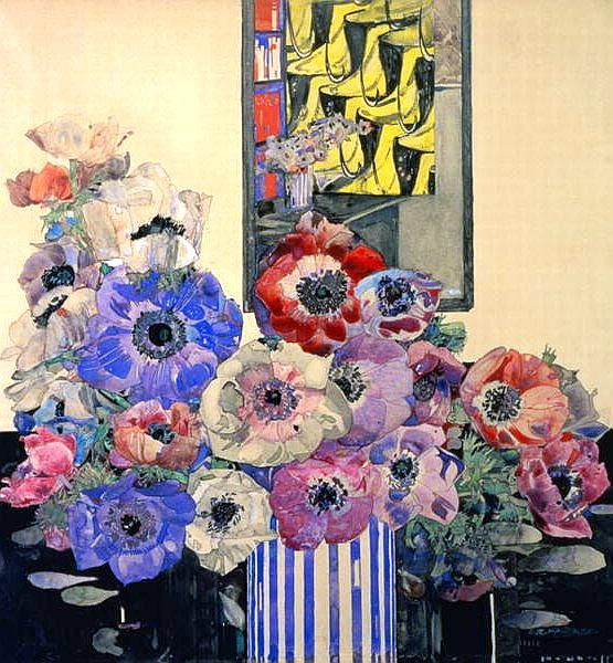 Still life of anemones, a watercolour by Charles Rennie Mackintosh