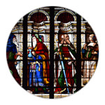 The stained-glass window of Auch cathedral's Chapel of Our Lady of Pity
