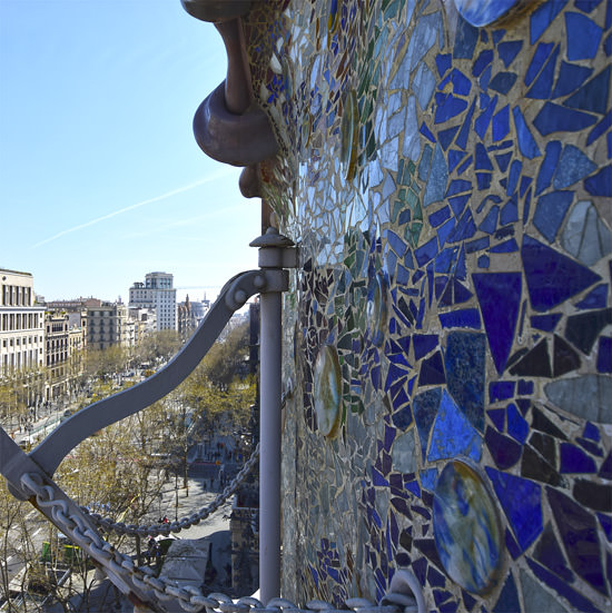 Detail of glass mosaic on the Casa Batlló façade, Barcelona