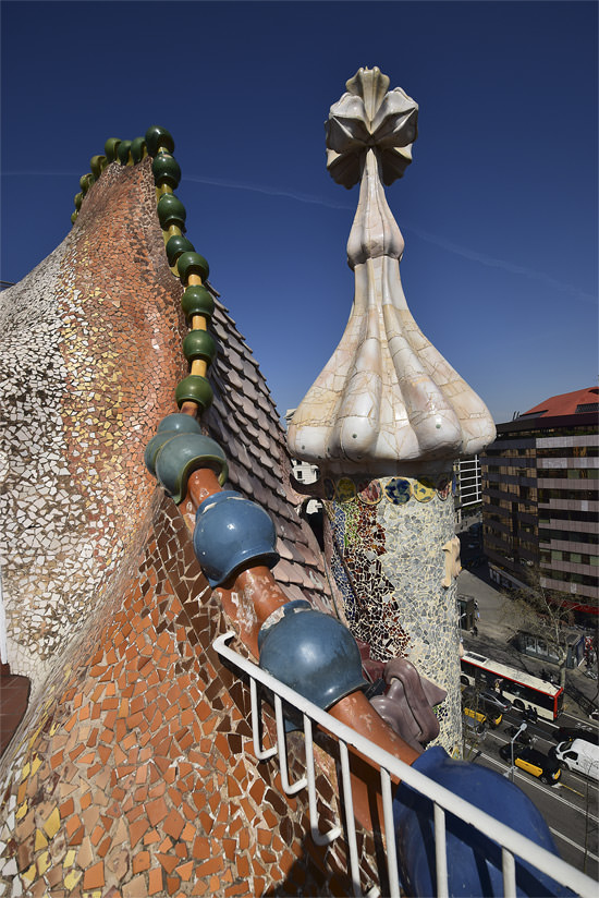 Casa Batlló's tiled stair exits and chimneys