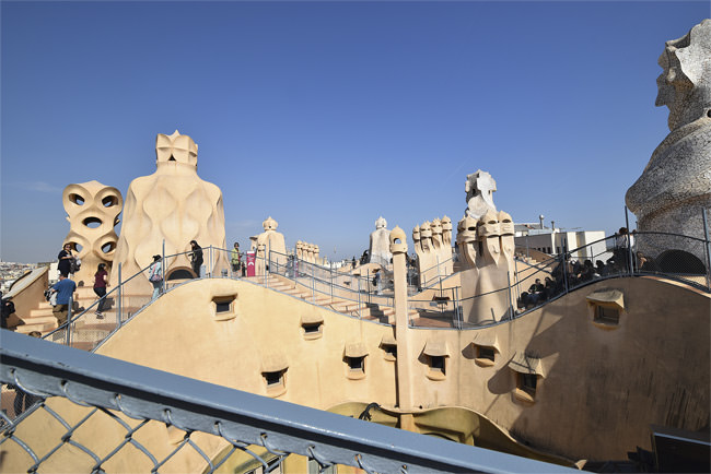 La Casa Milà's roof terrace chimneys