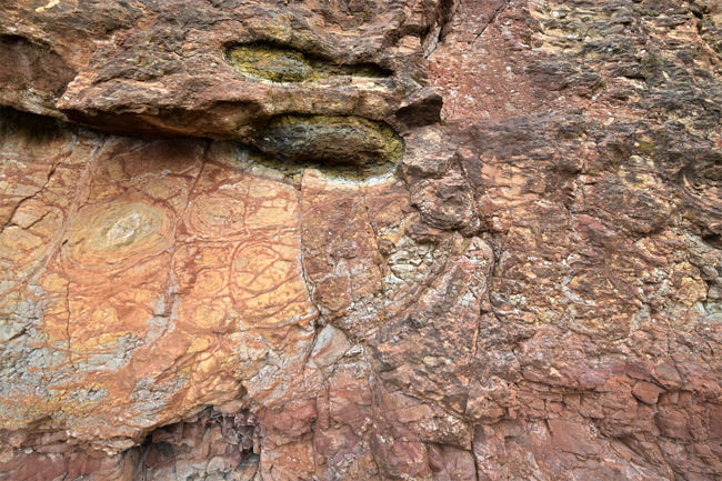 Red laterite rock in close-up