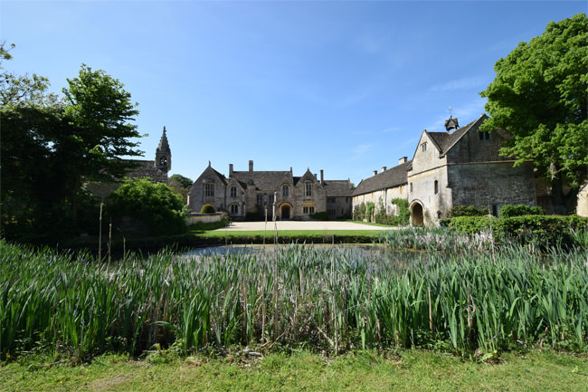 Great Chalfield Manor - view of the forecourt from across the upper moat