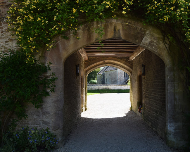 The entry way through Great Chalfield's 14th century gatehouse