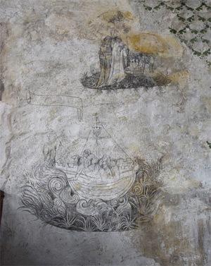 23/25 Chapel frescoes: St. Nicholas calming a storm - and resurrecting three children