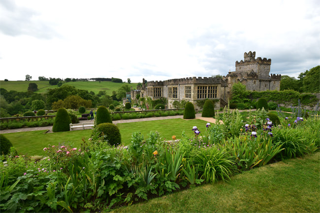 Haddon Hall in a fold of the Peak District