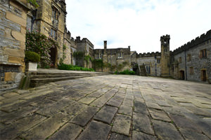Haddon Hall's lower courtyard, looking towards the chapel's 15th century octagonal bell tower