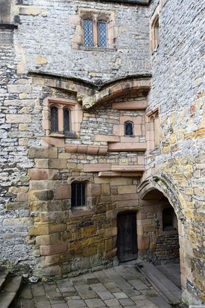 Traces of history on the entrance to the lower courtyard through the 15th century north-west tower
