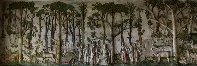 Panorama of Hardwick Hall's High Great Chamber frieze, north wall