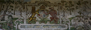 Hardwick Hall's High Great Chamber royal crest frieze