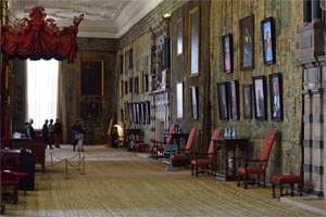 Hardwick Hall's extraordinary Long Gallery, here hung with an exhibition of photographs of contemporary high-achieving women
