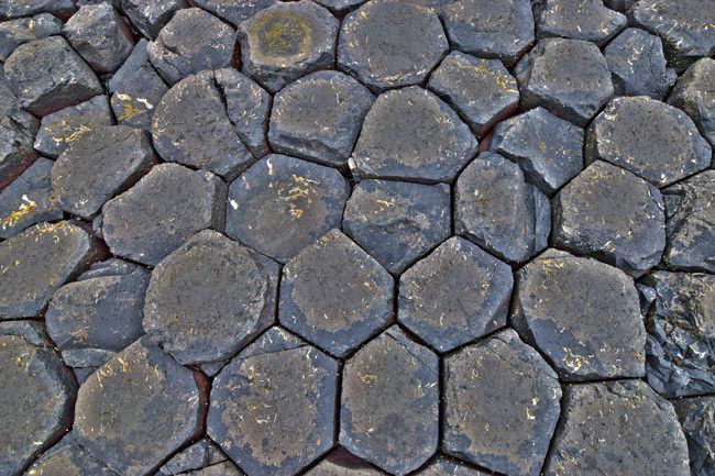 Basalt hexagons of the Giant's Causeway