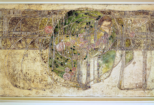 The Hill House drawing room, gesso panel over the fireplace by Margaret Macdonald