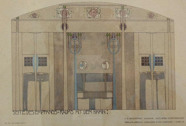 9/15 The House for an Art Lover, the music room fireplace, Mackintosh drawing