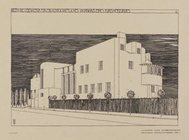 The House for an Art Lover, north-east perspective, Mackintosh drawing