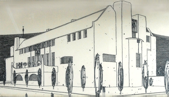 The House for an Art Lover, south-east perspective, Mackintosh drawing
