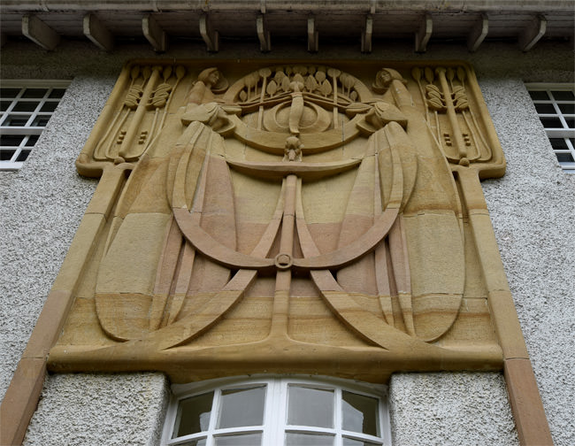 The House for an Art Lover, south façade, stone Tree of Life relief
