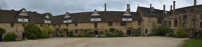 A stitched panorama of Lacock's Stable Court