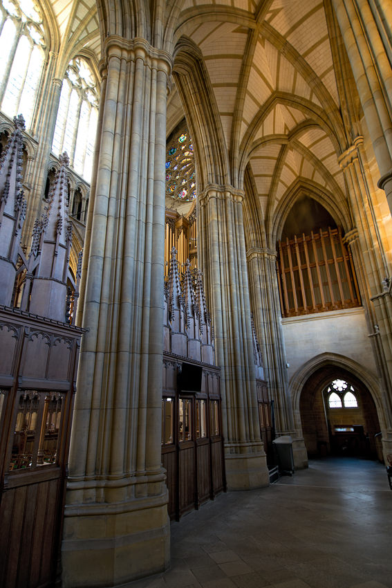 Lancing College Chapel - south aisle with west rose window beyond