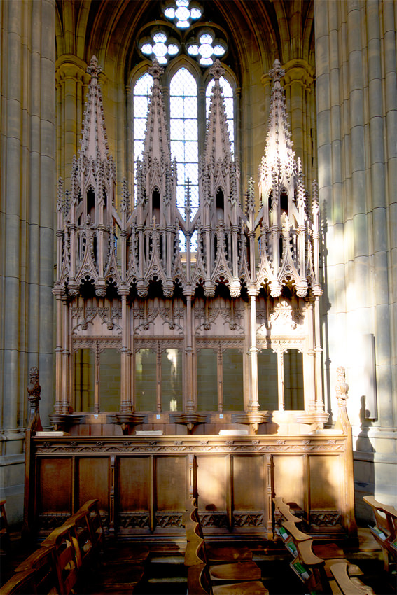 Lancing College Chapel - one of the stalls with their richly-carved canopies