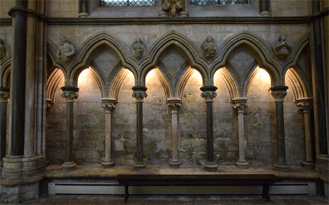 Norman intersecting arches of the aisle recesses at Lincoln