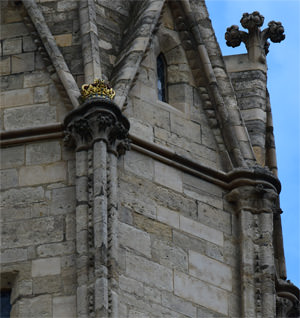 Lincoln Cathedral's Jubilee Crown fixed in 2012 to the the base of St Hugh's pinnacle