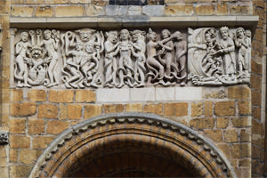 A replica of the original early 12th century frieze depicting hell for sinners