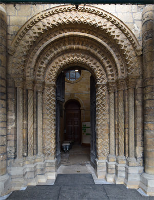 One of Lincoln's Romanesque west front archway entrances
