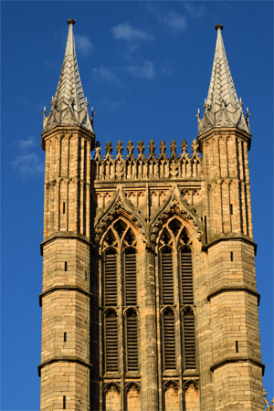 Details of one of Lincoln Cathedral's west towers