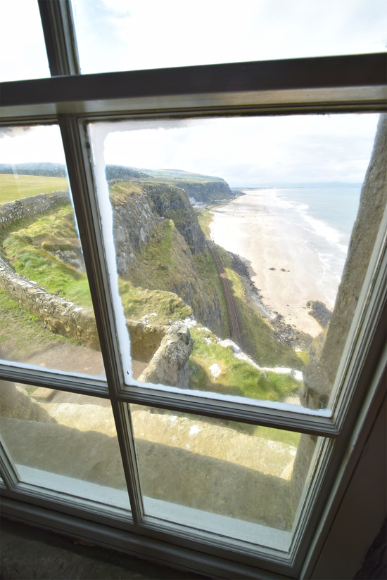 Looking west from inside Mussenden Temple, straight down onto the railway line to Derry-Londonderry