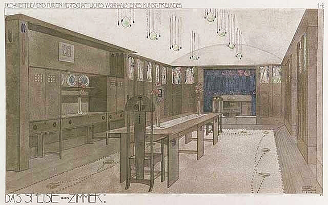 The House for an Art Lover, Mackintosh drawing for the dining room