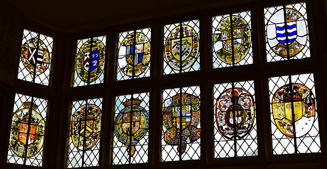 Heraldic glazing in the Great Chamber at Montacute