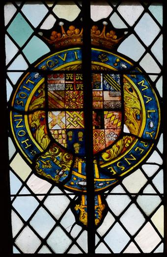 Heraldic glazing at Montacute