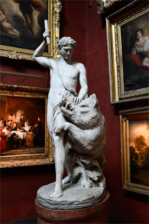 8/23 Petworth House, a corner of the North Gallery's Square Bay, Adonis and the Bear by John Edward Carew