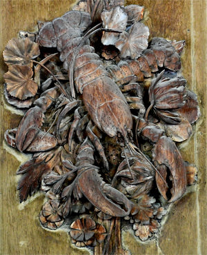 19/23 Crustaceans frozen in lime wood in Petworth's Carved Room