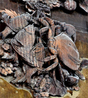 20/23 Fish and crustaceans frozen in lime wood in Petworth's Carved Room