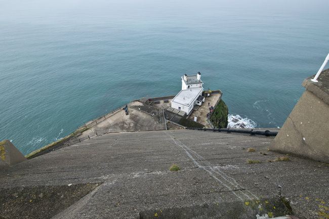 Rathlin Island's West Light and RSPB Reserve from above